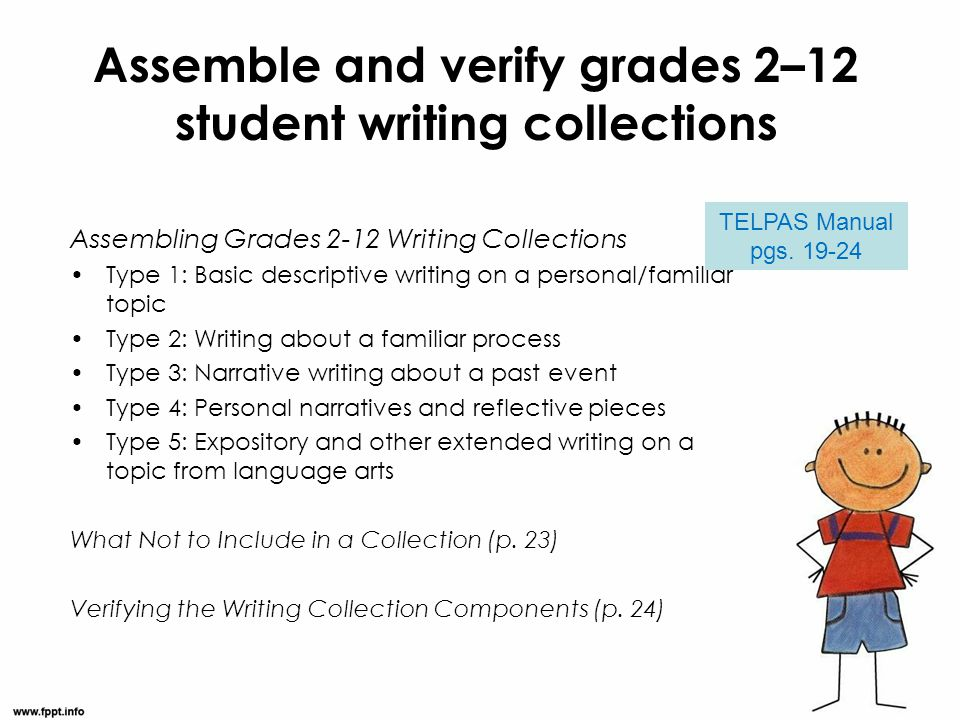 Assemble and verify grades 2–12 student writing collections Assembling Grades 2-12 Writing Collections Type 1: Basic descriptive writing on a personal