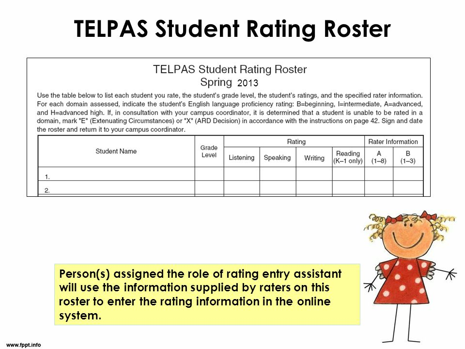 TELPAS Student Rating Roster Person(s) assigned the role of rating entry assistant will use the information supplied by raters on this roster to enter