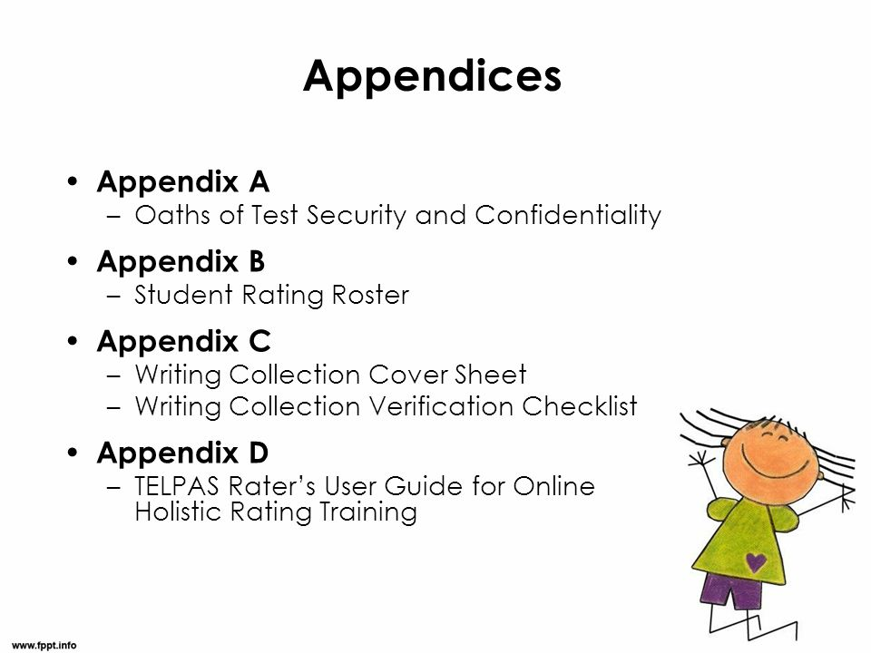 Appendices Appendix A –Oaths of Test Security and Confidentiality Appendix B –Student Rating Roster Appendix C –Writing Collection Cover Sheet –Writin