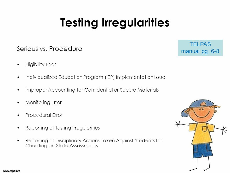 Testing Irregularities Serious vs. Procedural Eligibility Error Individualized Education Program (IEP) Implementation Issue Improper Accounting for Co