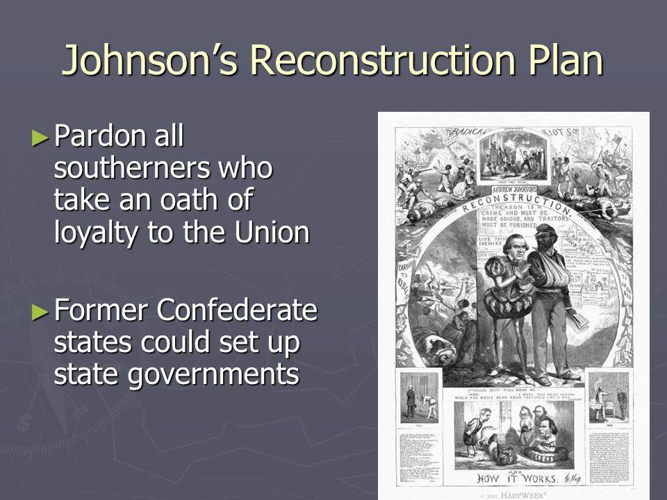 Johnson's Reconstruction Plan ► Pardon all southerners who take an oath of loyalty to the Union ► Former Confederate states could set up state governm