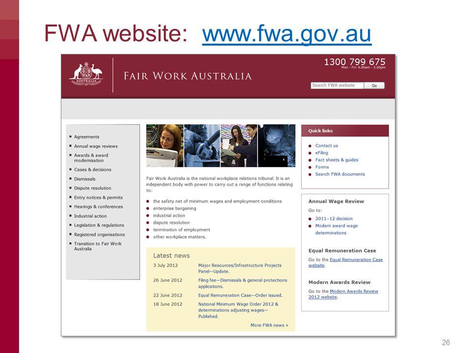 FWA website: www.fwa.gov.auwww.fwa.gov.au 26