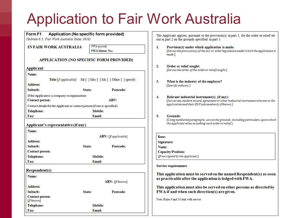 © Commonwealth of Australia — Fair Work Australia5 Application to Fair Work Australia
