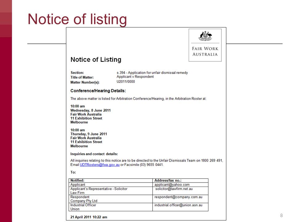 Notice of listing 8