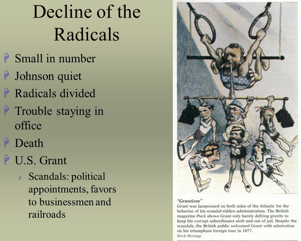 Decline of the Radicals HSmall in number HJohnson quiet HRadicals divided HTrouble staying in office HDeath HU.S. Grant H Scandals: political appointm