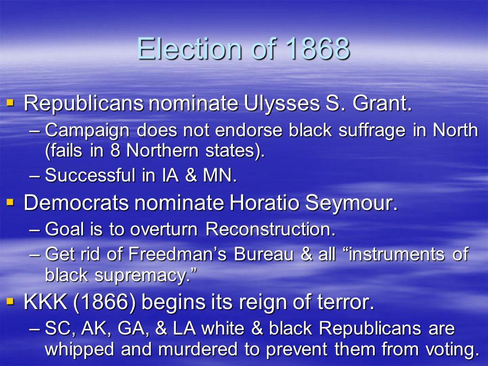 Election of 1868  Republicans nominate Ulysses S.