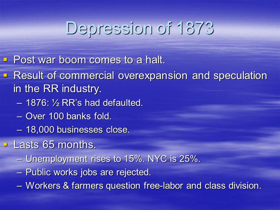Depression of 1873  Post war boom comes to a halt.