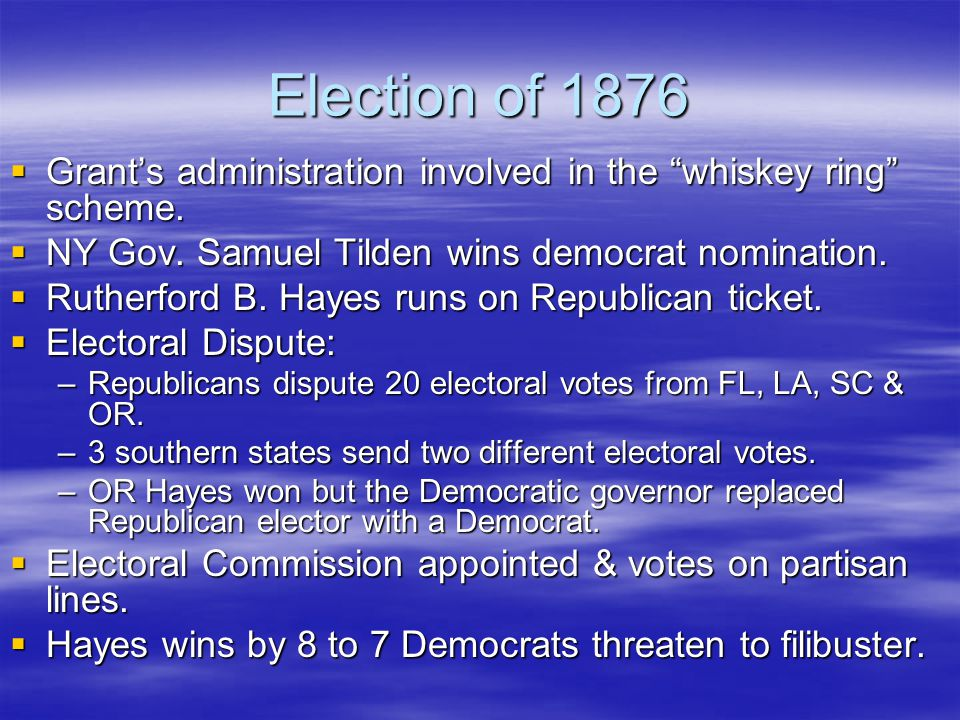 """Election of 1876  Grant's administration involved in the """"whiskey ring"""" scheme.  NY Gov. Samuel Tilden wins democrat nomination.  Rutherford B. Hay"""