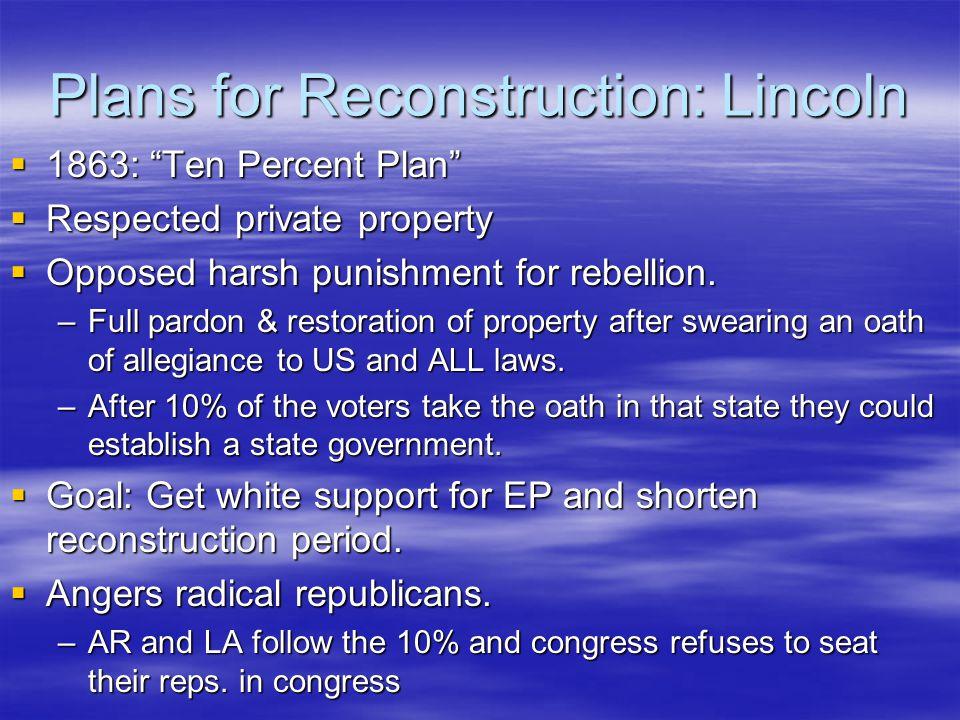 Plans for Reconstruction: Lincoln  1863: Ten Percent Plan  Respected private property  Opposed harsh punishment for rebellion.