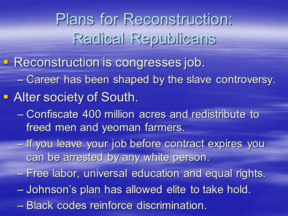 Radical Republicans (Cont.)  Spring 1866 Civil Rights Bill: Full citizenship for blacks, overturned Dred and black codes.