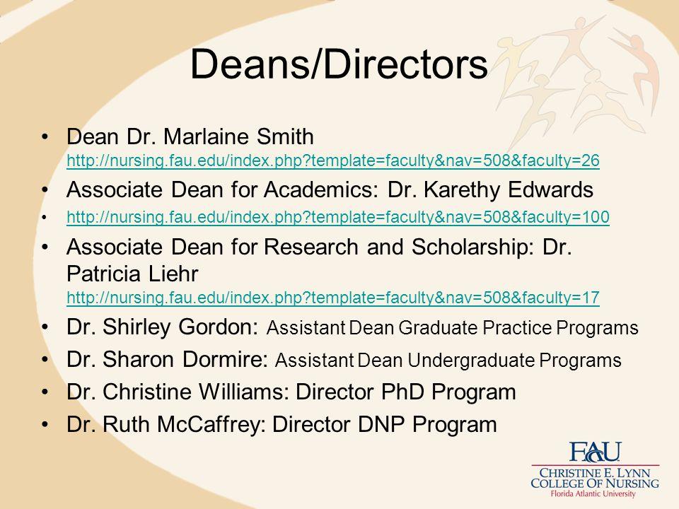 Deans/Directors Dean Dr.