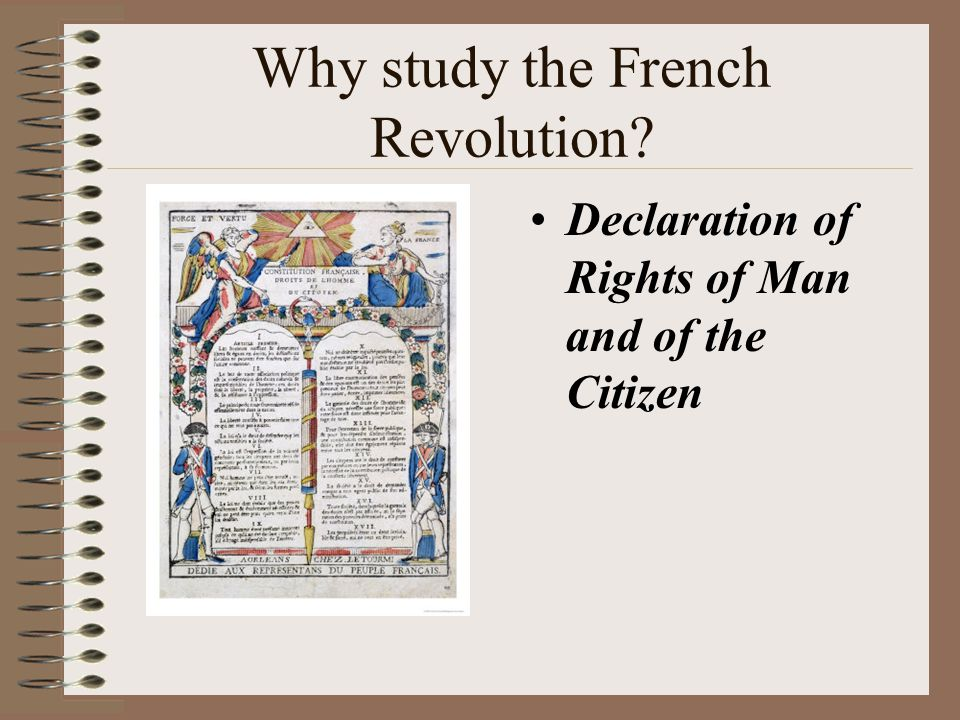 Why study the French Revolution? Declaration of Rights of Man and of the Citizen