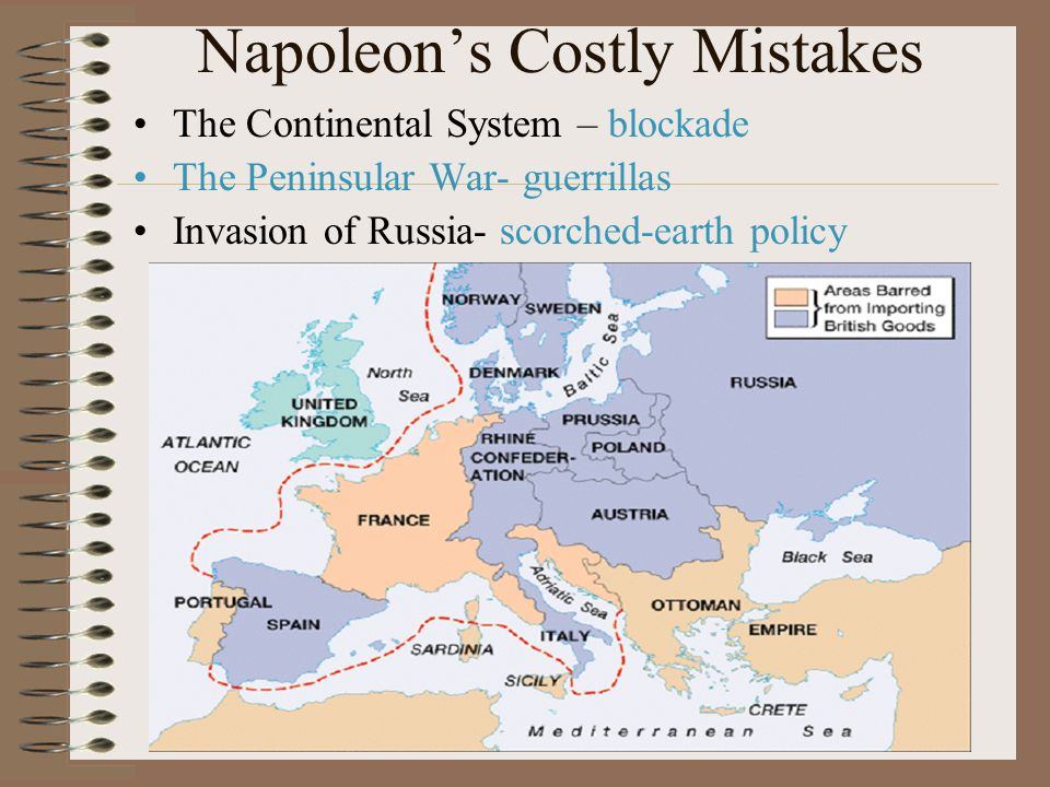 Napoleon's Costly Mistakes The Continental System – blockade The Peninsular War- guerrillas Invasion of Russia- scorched-earth policy