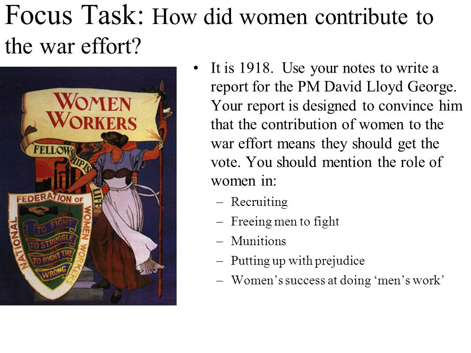 Focus Task: How did women contribute to the war effort.