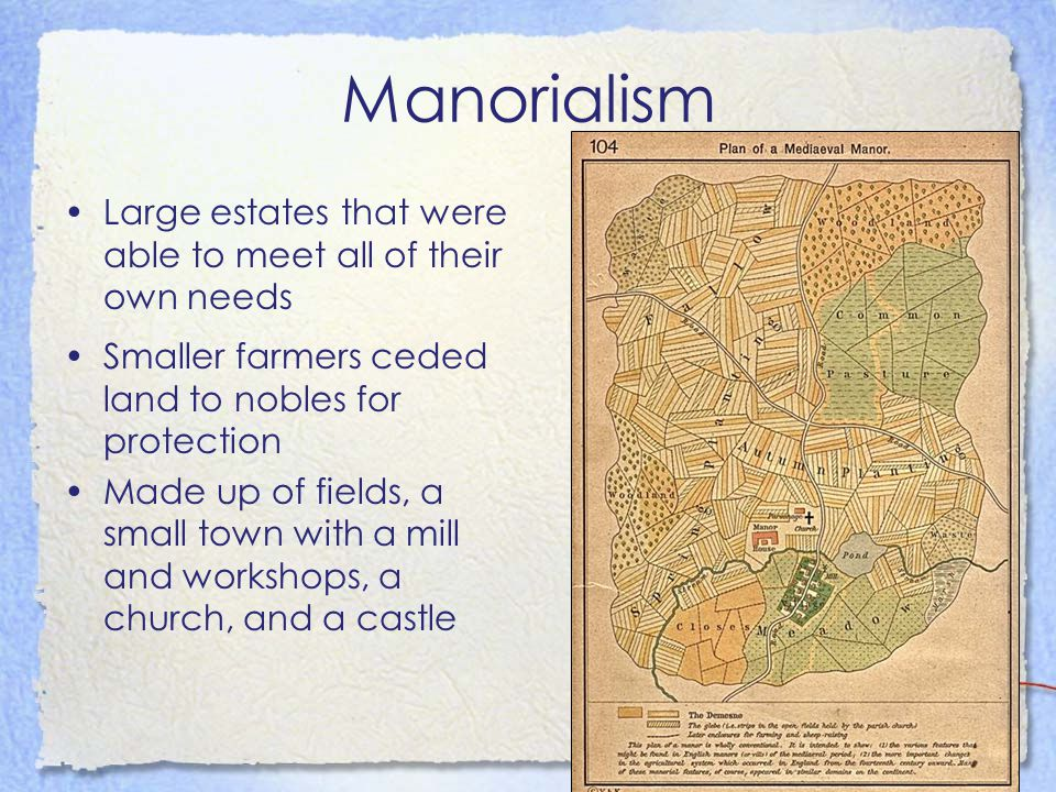 Manorialism Large estates that were able to meet all of their own needs Smaller farmers ceded land to nobles for protection Made up of fields, a small