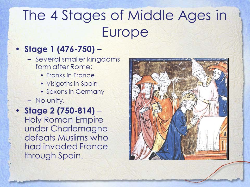The 4 Stages of Middle Ages in Europe Stage 1 (476-750) – –Several smaller kingdoms form after Rome: Franks in France Visigoths in Spain Saxons in Ger