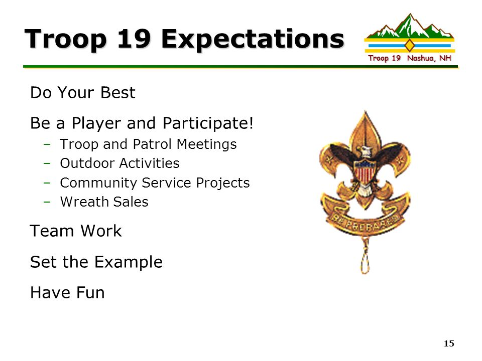 Intel Confidential Troop 19 Nashua, NH 15 Troop 19 Expectations Do Your Best Be a Player and Participate! –Troop and Patrol Meetings –Outdoor Activiti