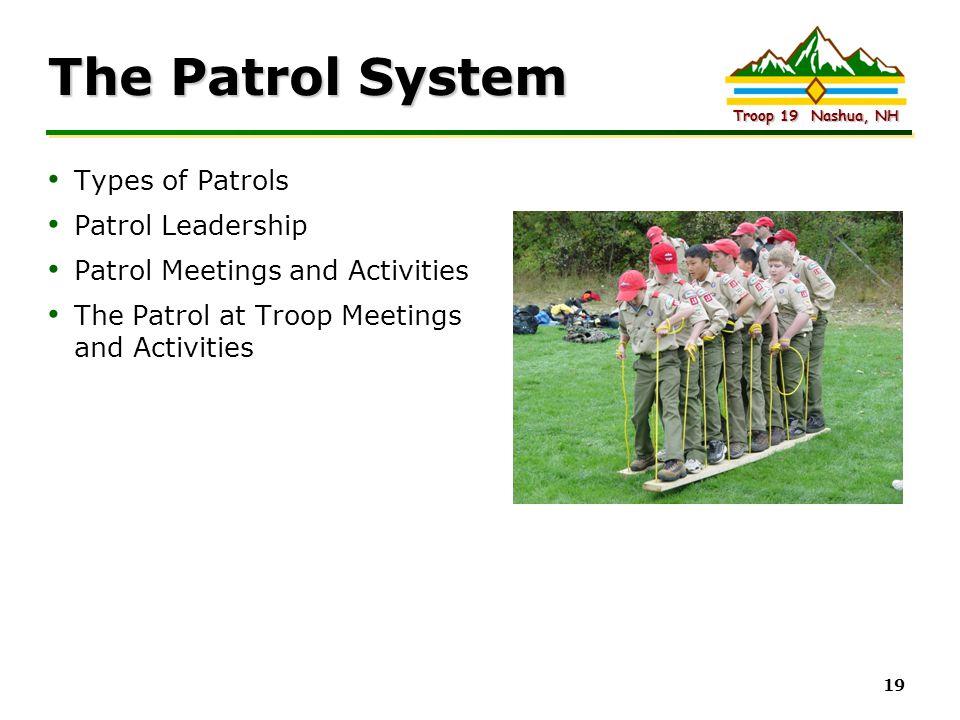 Intel Confidential Troop 19 Nashua, NH 19 The Patrol System Types of Patrols Patrol Leadership Patrol Meetings and Activities The Patrol at Troop Meet
