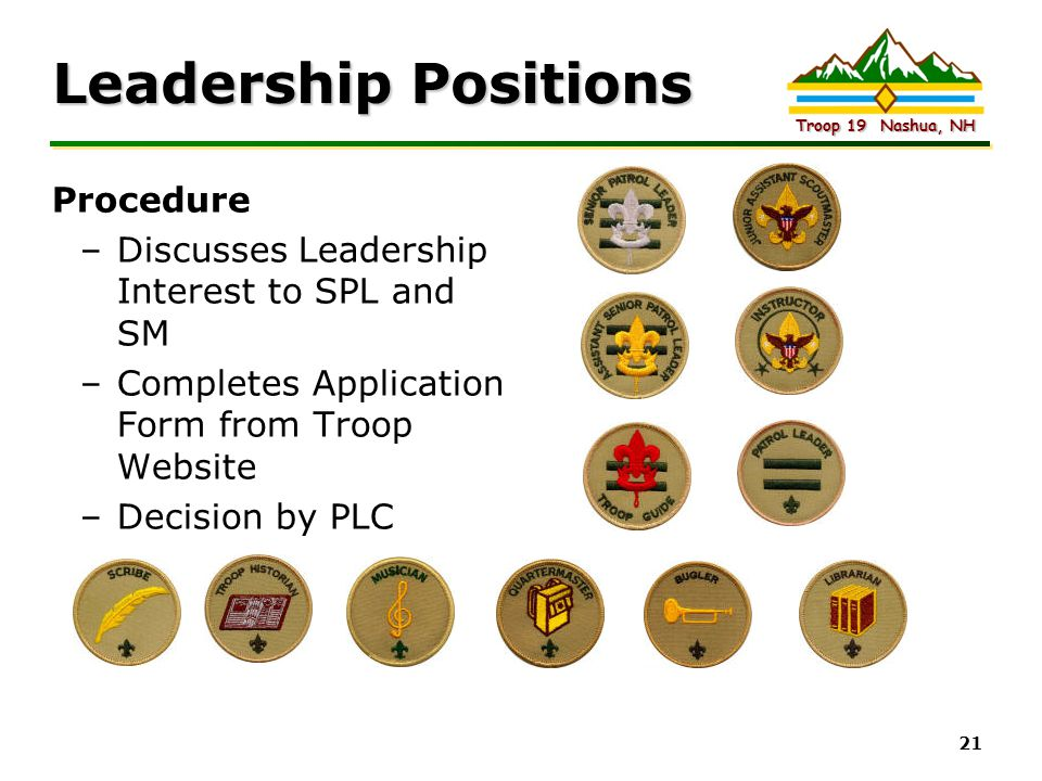 Intel Confidential Troop 19 Nashua, NH 21 Leadership Positions Procedure –Discusses Leadership Interest to SPL and SM –Completes Application Form from