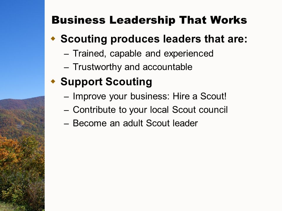 Business Leadership That Works  Scouting produces leaders that are: – Trained, capable and experienced – Trustworthy and accountable  Support Scouting – Improve your business: Hire a Scout.