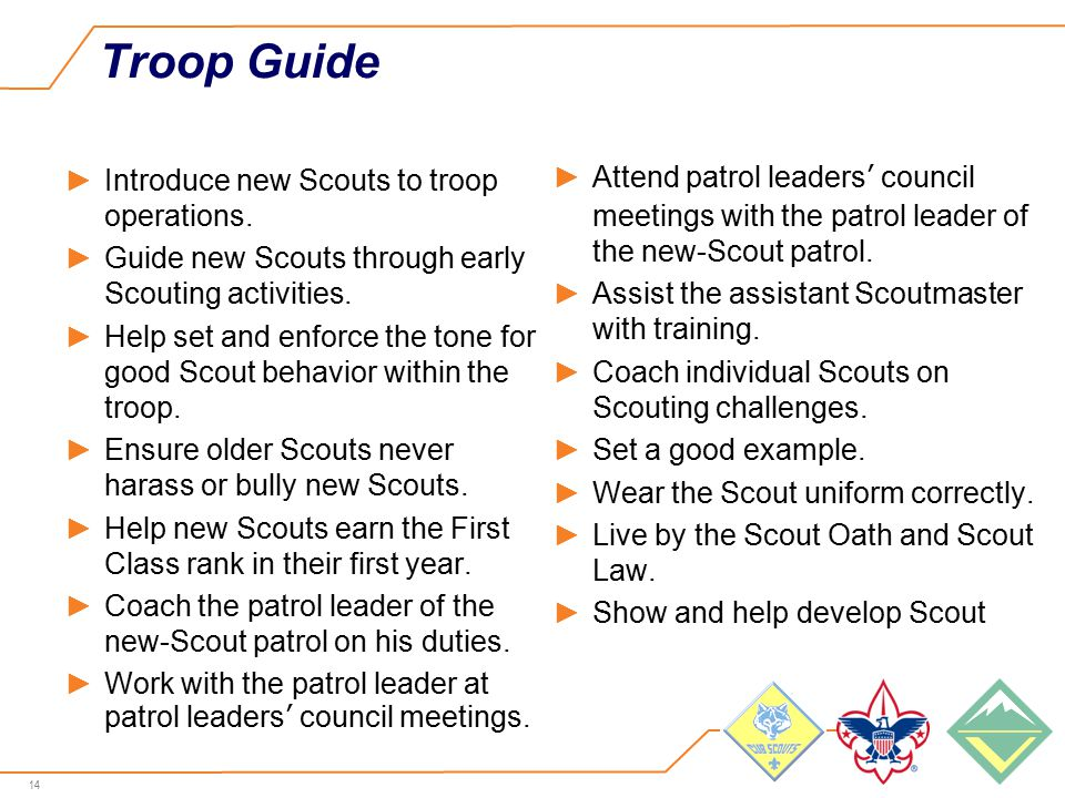14 Troop Guide ►Introduce new Scouts to troop operations.