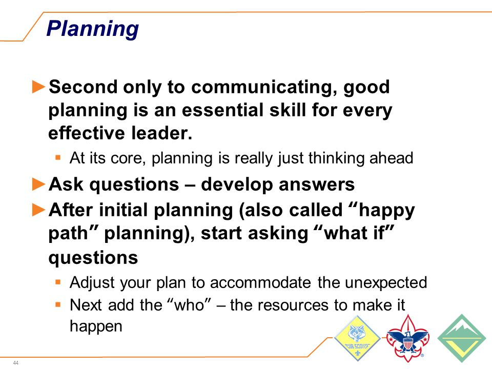44 Planning ►Second only to communicating, good planning is an essential skill for every effective leader.