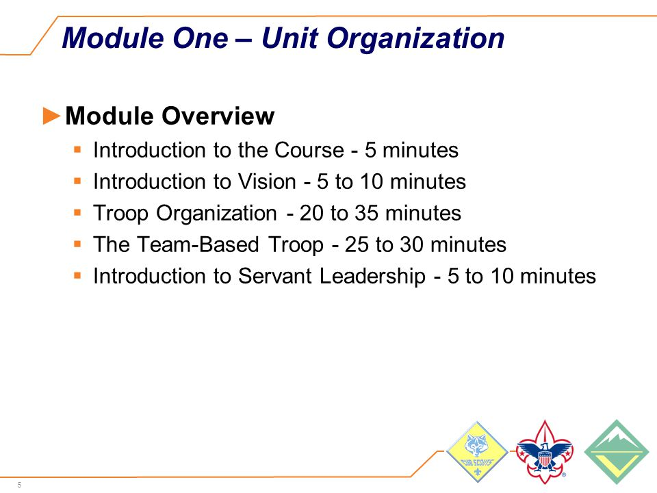 5 Module One – Unit Organization ►Module Overview  Introduction to the Course - 5 minutes  Introduction to Vision - 5 to 10 minutes  Troop Organization - 20 to 35 minutes  The Team-Based Troop - 25 to 30 minutes  Introduction to Servant Leadership - 5 to 10 minutes
