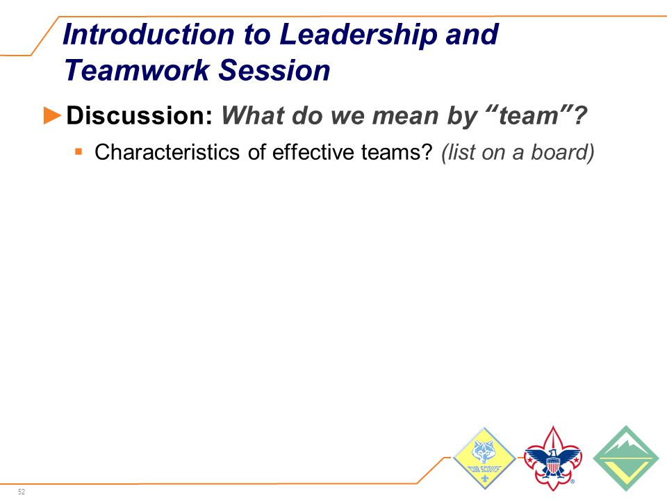 52 Introduction to Leadership and Teamwork Session ►Discussion: What do we mean by team .