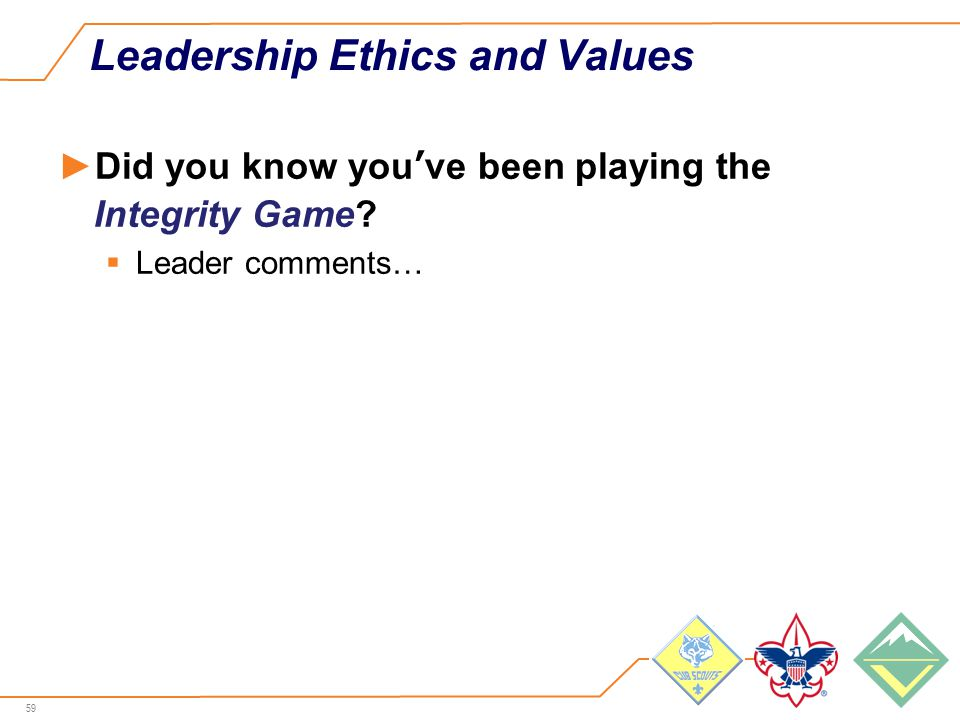 59 Leadership Ethics and Values ►Did you know you've been playing the Integrity Game.