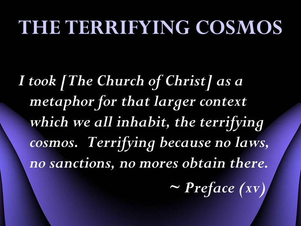 THE TERRIFYING COSMOS I took [The Church of Christ] as a metaphor for that larger context which we all inhabit, the terrifying cosmos.