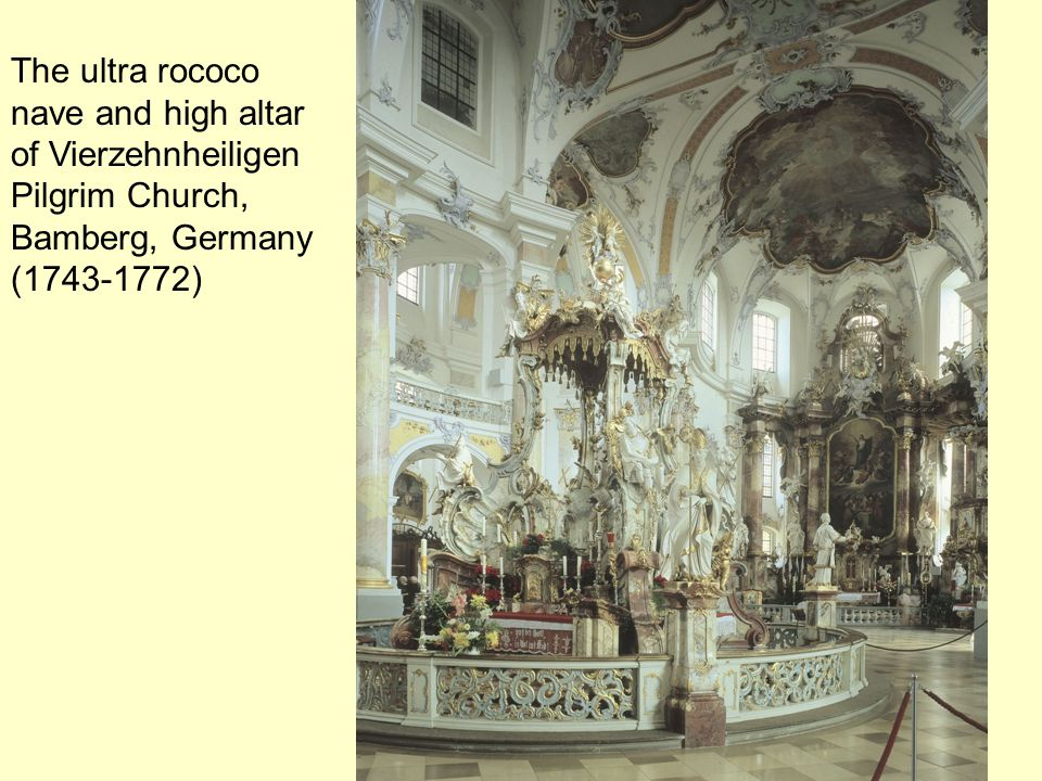 The ultra rococo nave and high altar of Vierzehnheiligen Pilgrim Church, Bamberg, Germany (1743-1772)