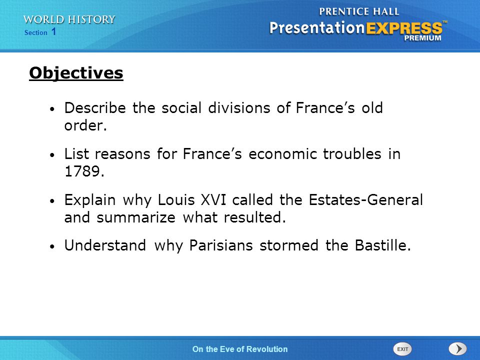 Chapter 25 Section 1 The Cold War BeginsOn the Eve of Revolution Section 1 The nobles hoped that the Estates- General could bring the absolute monarch under their control and guarantee their own privileges.