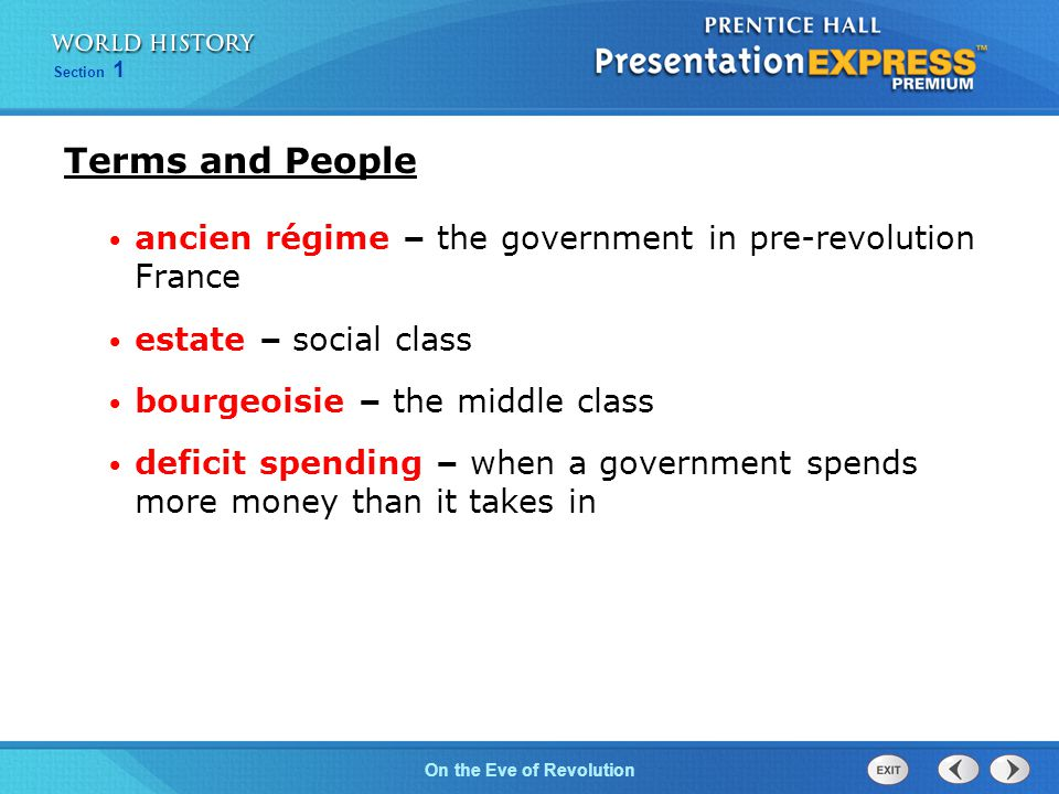 Chapter 25 Section 1 The Cold War BeginsOn the Eve of Revolution Section 1 ancien régime – the government in pre-revolution France estate – social class bourgeoisie – the middle class deficit spending – when a government spends more money than it takes in Terms and People