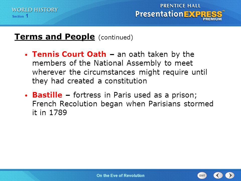 Chapter 25 Section 1 The Cold War BeginsOn the Eve of Revolution Section 1 What led to the storming of the Bastille, and therefore, to the start of the French Revolution.