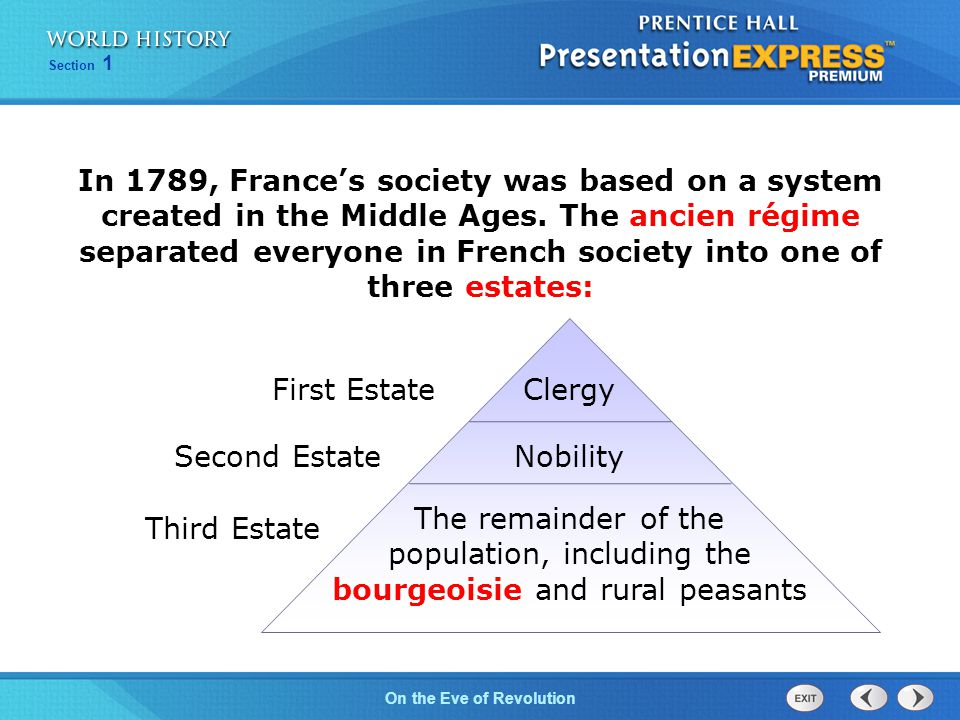 Chapter 25 Section 1 The Cold War BeginsOn the Eve of Revolution Section 1 Clergy Nobility The remainder of the population, including the bourgeoisie and rural peasants First Estate Third Estate Second Estate In 1789, France's society was based on a system created in the Middle Ages.