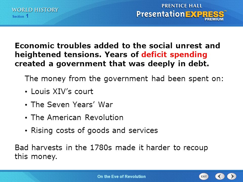 Chapter 25 Section 1 The Cold War BeginsOn the Eve of Revolution Section 1 Bad harvests in the 1780s made it harder to recoup this money.