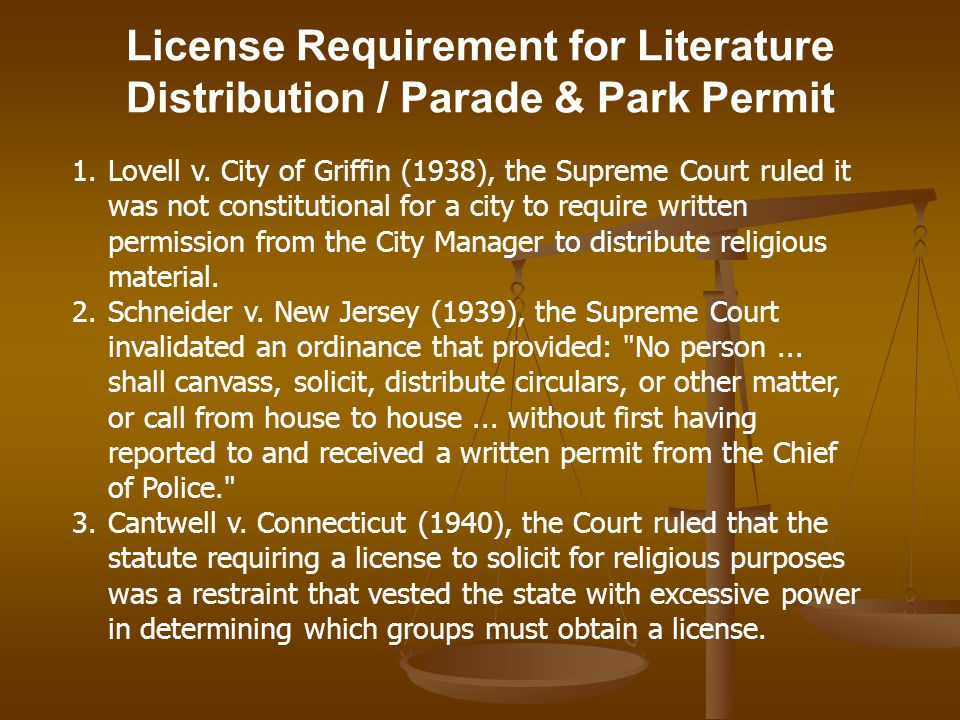 License Requirement for Literature Distribution / Parade & Park Permit 1.Lovell v.