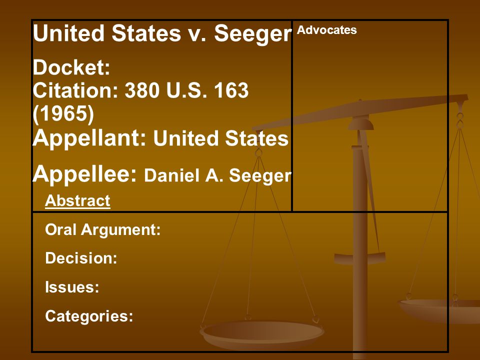 Abstract Oral Argument: Decision: Issues: Categories: Advocates United States v.