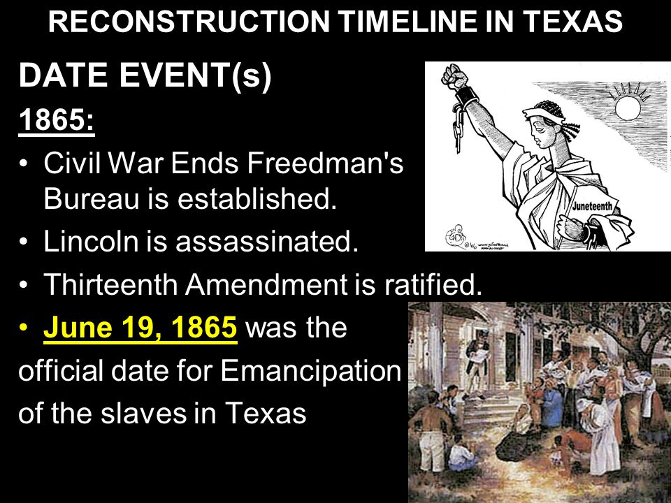 RECONSTRUCTION TIMELINE IN TEXAS DATE EVENT(s) 1865: Civil War Ends Freedman's Bureau is established. Lincoln is assassinated. Thirteenth Amendment is