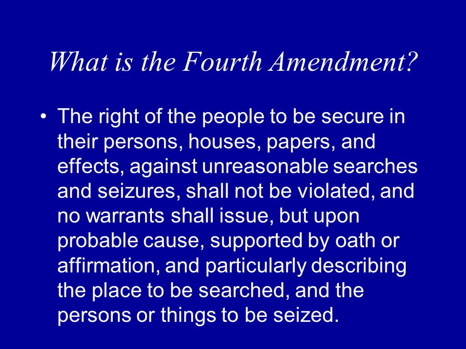 The Fourth Amendment What Are Your Rights Mr. Carr Social Studies