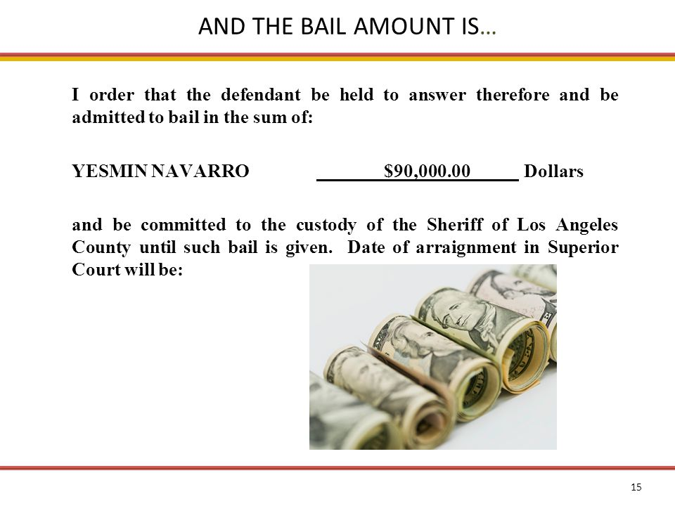 15 AND THE BAIL AMOUNT IS… I order that the defendant be held to answer therefore and be admitted to bail in the sum of: YESMIN NAVARRO$90,000.00 Dollars and be committed to the custody of the Sheriff of Los Angeles County until such bail is given.
