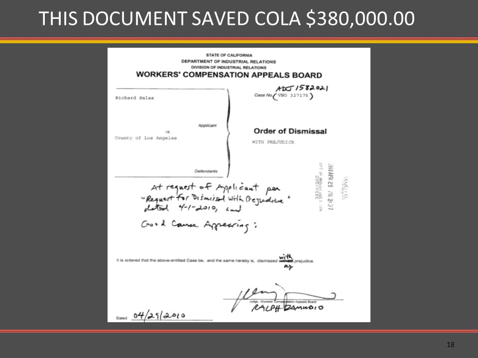 18 THIS DOCUMENT SAVED COLA $380,000.00