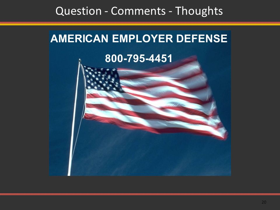 20 Question - Comments - Thoughts AMERICAN EMPLOYER DEFENSE 800-795-4451