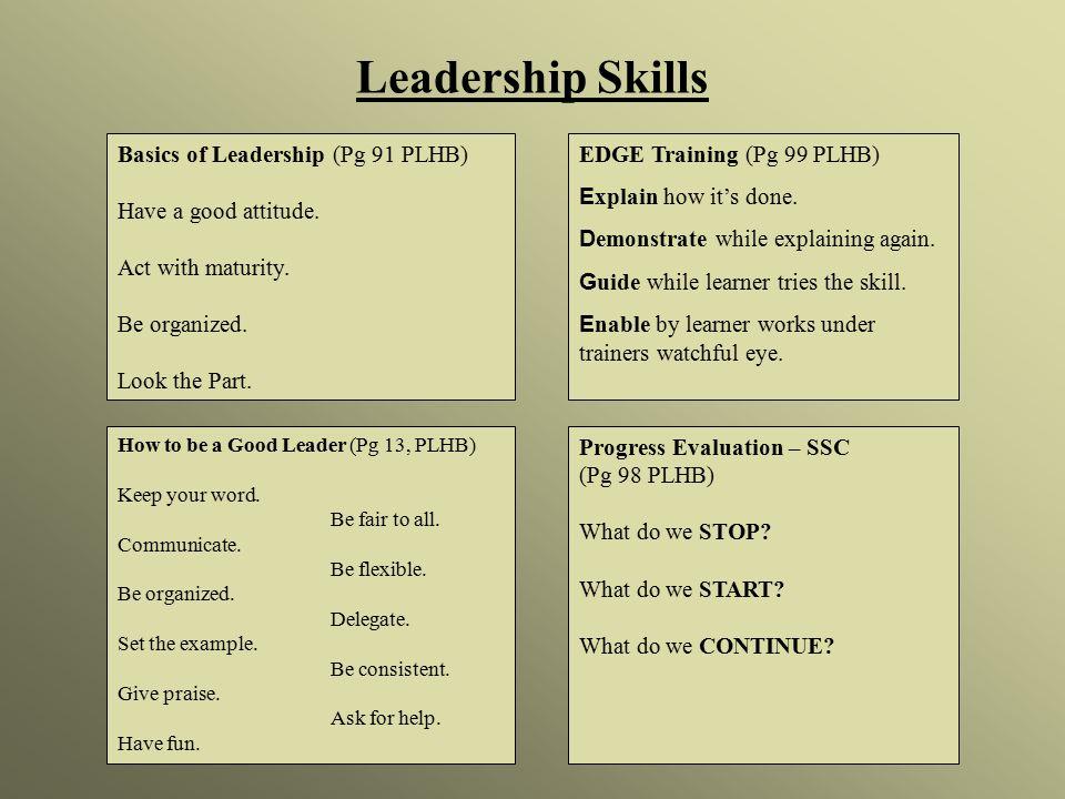 Leadership Skills Basics of Leadership (Pg 91 PLHB) Have a good attitude.