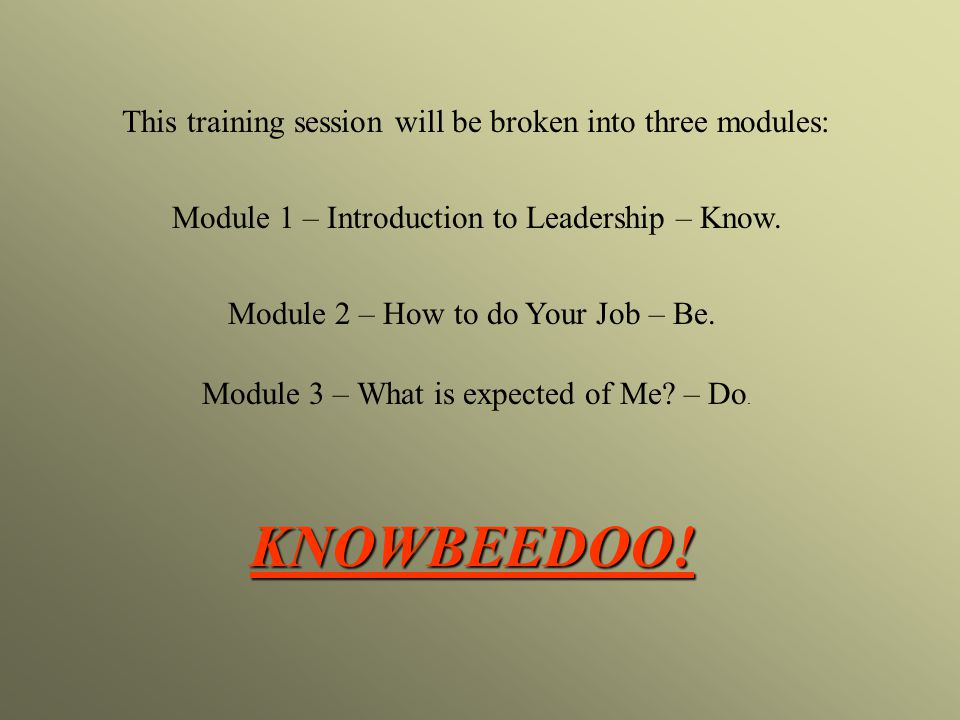 This training session will be broken into three modules: Module 1 – Introduction to Leadership – Know.