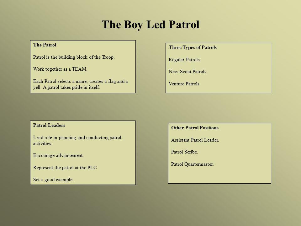 The Boy Led Patrol The Patrol Patrol is the building block of the Troop.