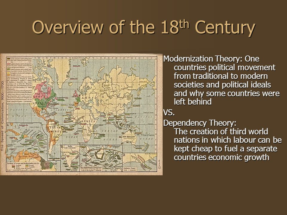 Overview of the 18 th Century Modernization Theory: One countries political movement from traditional to modern societies and political ideals and why some countries were left behind VS.