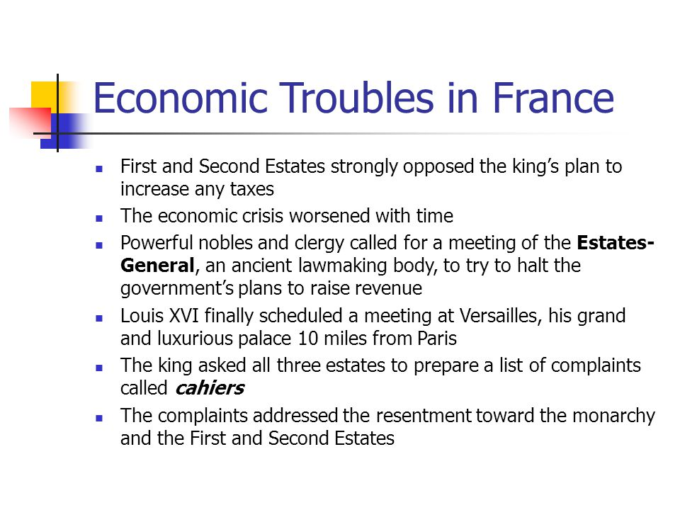 Economic Troubles in France First and Second Estates strongly opposed the king's plan to increase any taxes The economic crisis worsened with time Pow