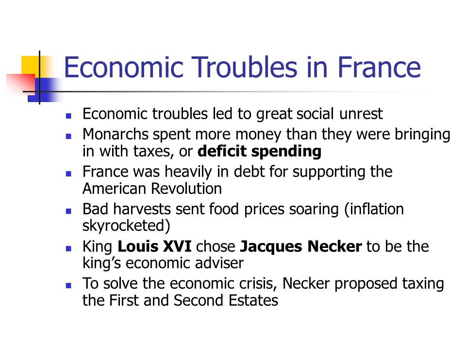 Economic Troubles in France Economic troubles led to great social unrest Monarchs spent more money than they were bringing in with taxes, or deficit s