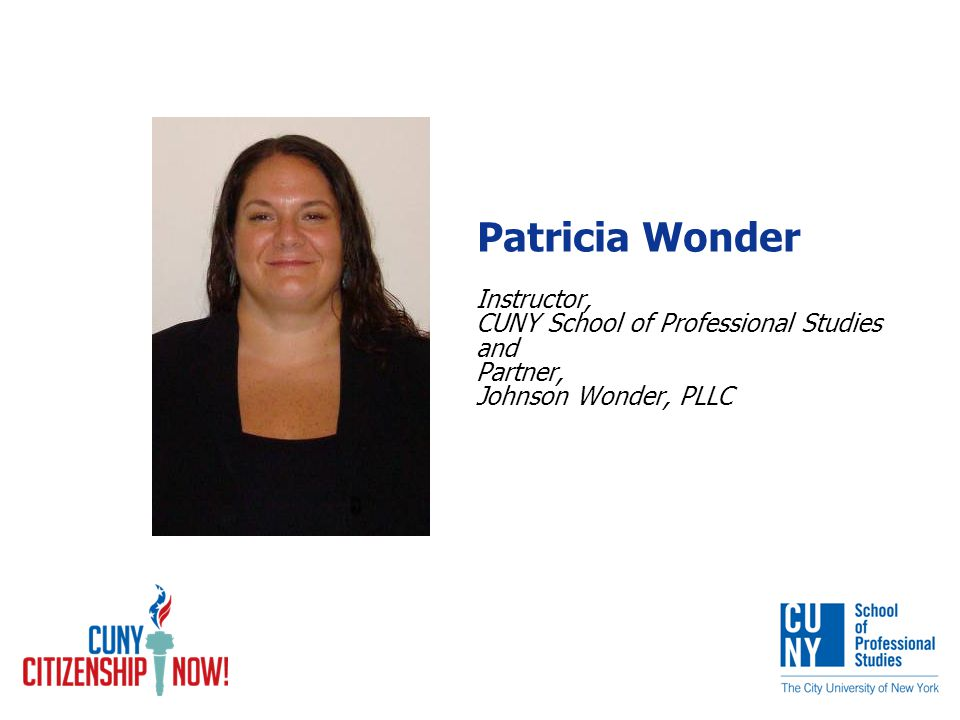 Patricia Wonder Instructor, CUNY School of Professional Studies and Partner, Johnson Wonder, PLLC